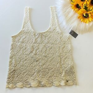 NWT Abercrombie & Fitch Lace Ombre Cream Gold Top